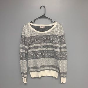 Forever 21 Printed Sweater in White and Grey